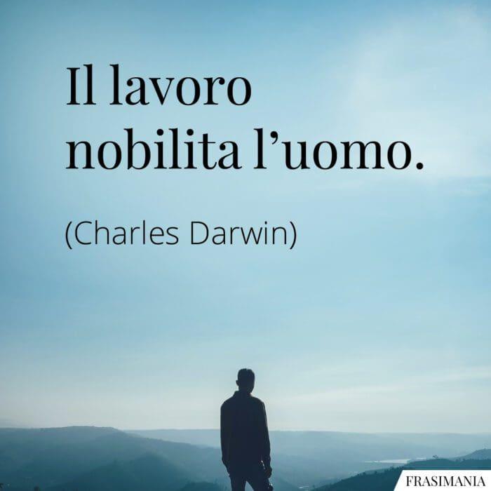 Frasi lavoro nobilita uomo Darwin