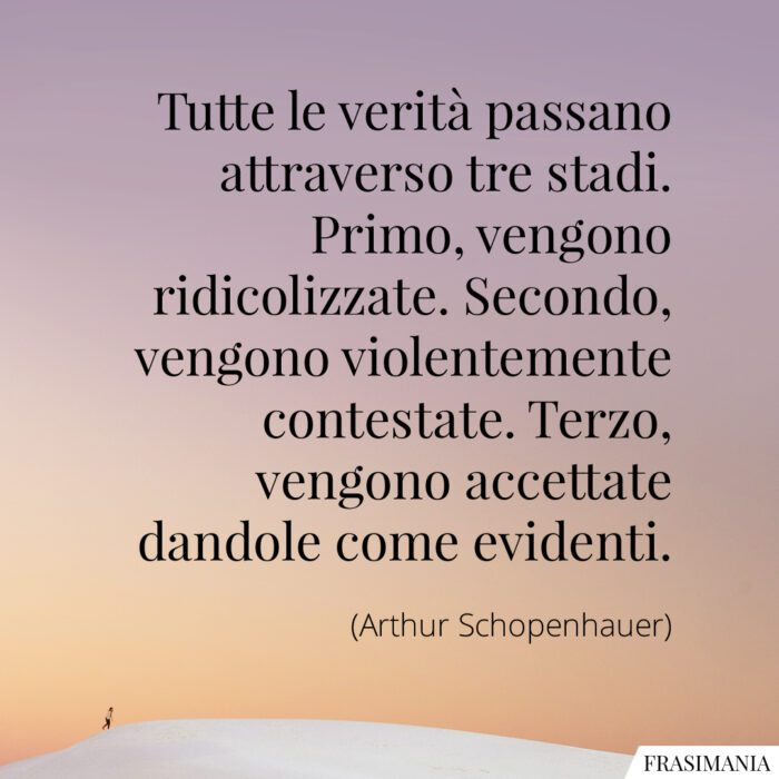 Frasi verità stadi Schopenhauer