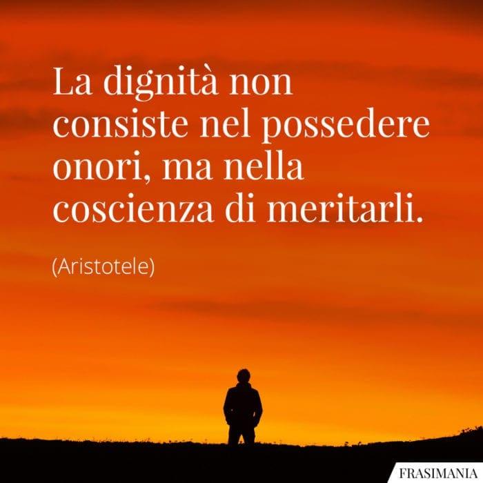 Frasi dignità coscienza Aristotele